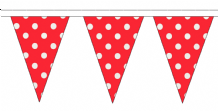 Red and White Polka Dot Traditional 10m 24 Flag Polyester Triangle Flag Bunting
